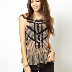 Free People Lace and Stripe Peplum Top